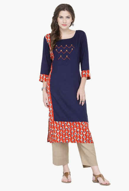 Varanga Blue Embroidered Rayon Kurta