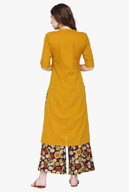 Varanga Mustard Embroidered Rayon Kurta With Palazzo