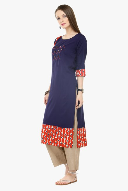 Varanga Blue & Beige Embroidered Cotton Kurta With Palazzo