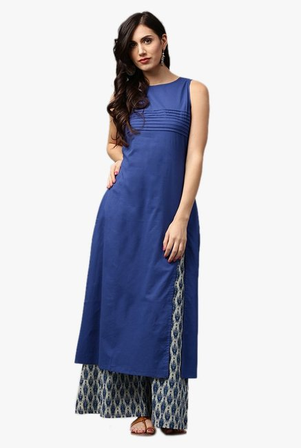 Jaipur Kurti Blue Cotton Kurta With Palazzo