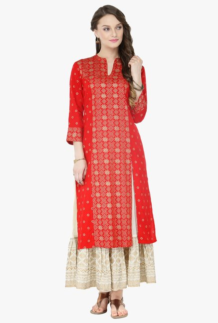 Varanga Orange & White Printed Cotton Kurta With Palazzo