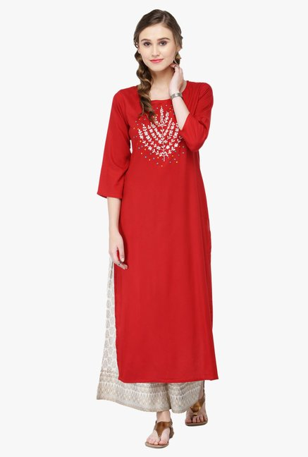 Varanga Red Embroidered Rayon Kurta