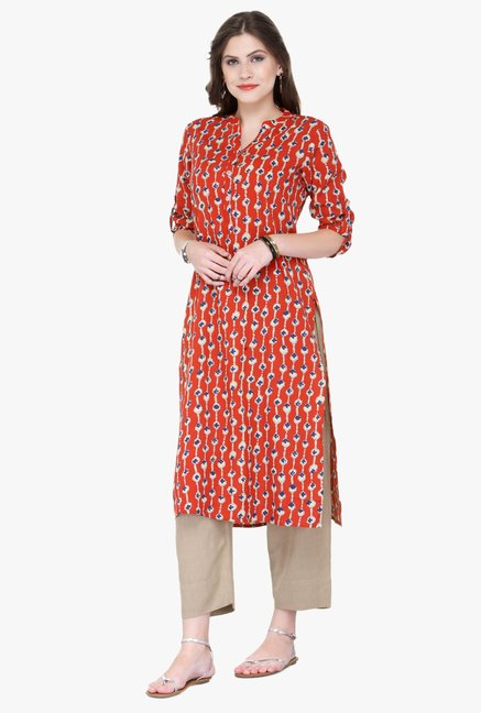 Varanga Red Printed Cotton Kurta