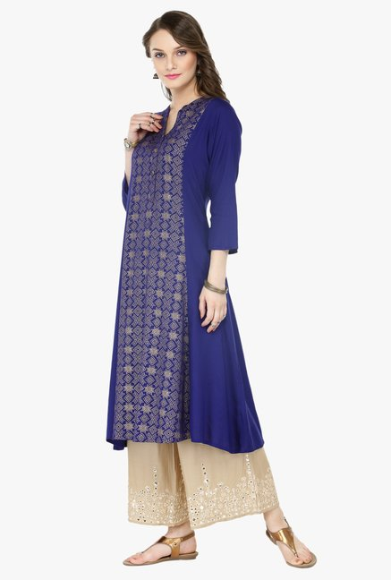 Varanga Blue & Beige Printed Cotton Kurta With Palazzo