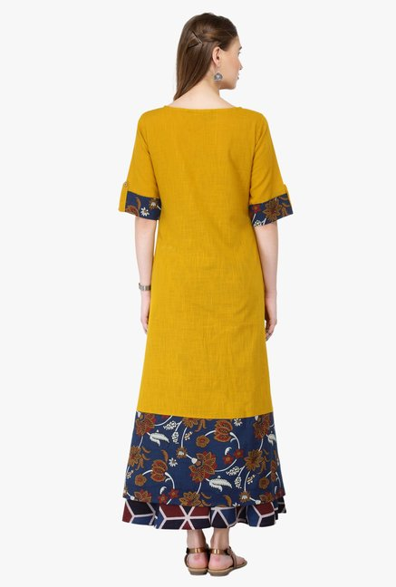 Varanga Mustard & Multicolor Cotton Kurta With Palazzo