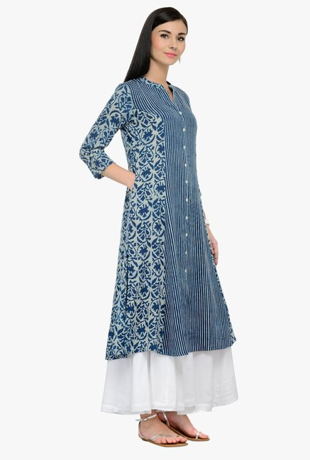 Varanga Blue & White Printed Rayon Kurta With Palazzo