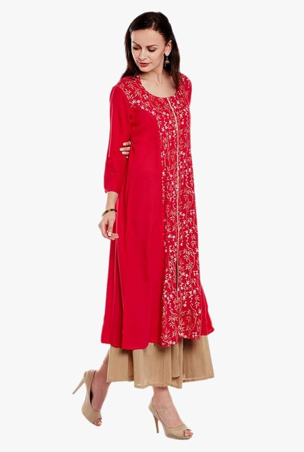 Varanga Red & Beige Printed Kurta With Palazzo