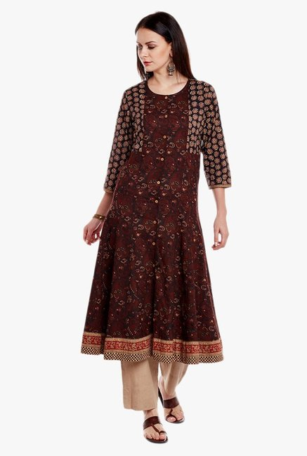 Varanga Brown & Beige Printed Cotton Kurta With Pant