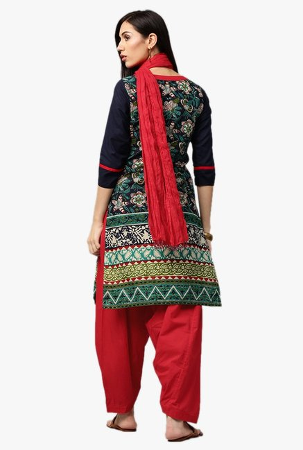Jaipur Kurti Navy & Red Floral Print Kurta With Patiala