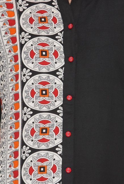 Varanga Black Printed Cotton Kurta With Palazzo
