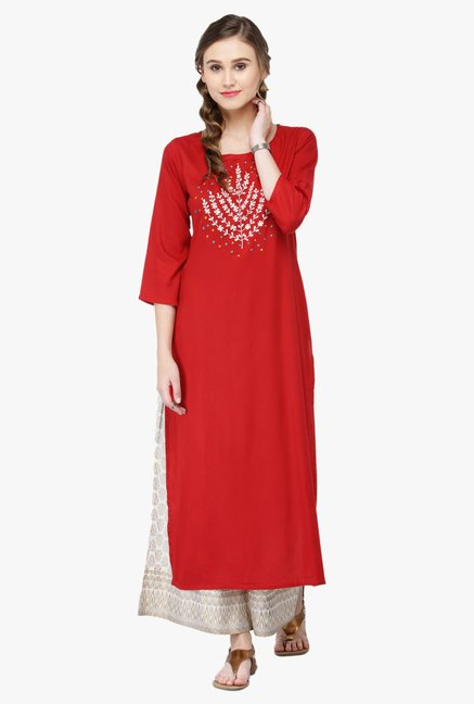 Varanga Red & White Embroidered Cotton Kurta With Palazzo