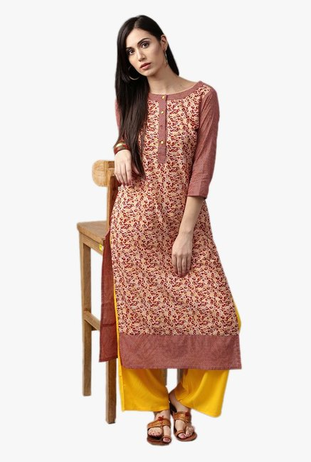 Jaipur Kurti Red & Yellow Printed Kurta With Palazzo