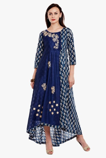 Varanga Blue Embroidered Cotton Kurta