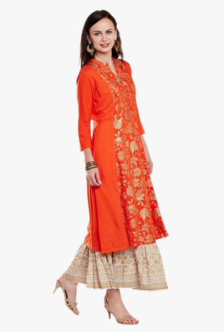 Varanga Orange & Ivory Printed Kurta With Skirt