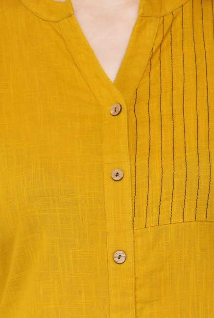 Varanga Mustard Embroidered Cotton Kurta