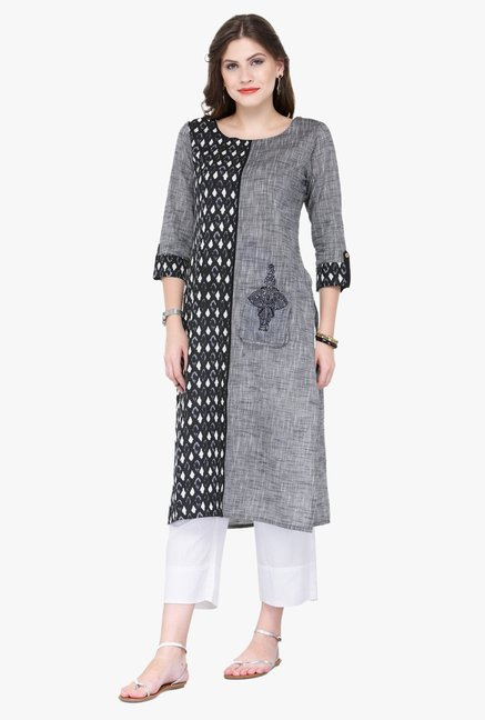 Varanga Grey & White Embroidered Cotton Kurta With Palazzo