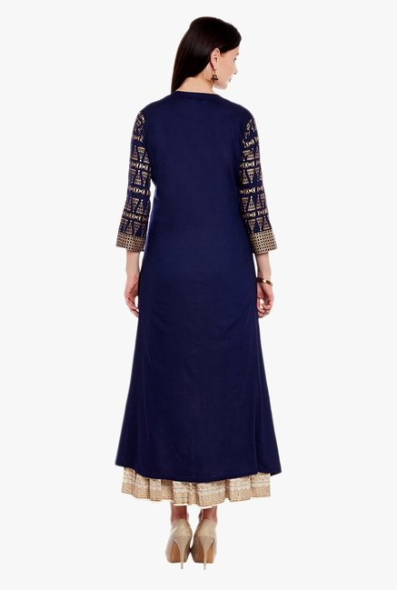 Varanga Blue & Ivory Printed Kurta With Skirt