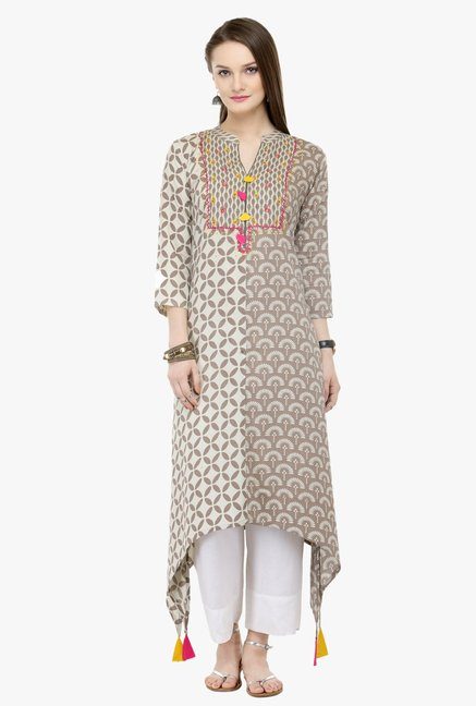 Varanga Grey & White Embroidered Rayon Kurta With Palazzo