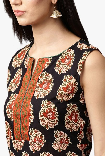 Jaipur Kurti Navy & Orange Kurta With Palazzo