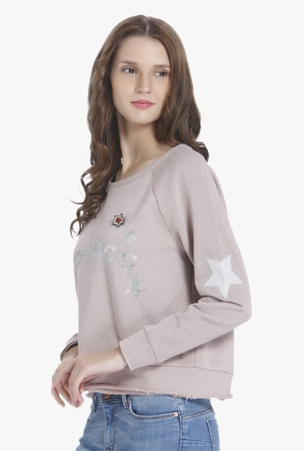 Only Peach Embellished Sweatshirt