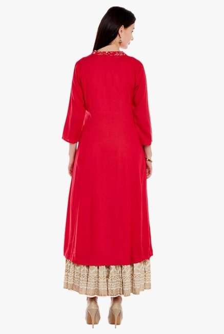 Varanga Red & Ivory Printed Kurta With Skirt