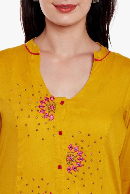 Varanga Mustard & Pink Embroidered Kurta With Skirt
