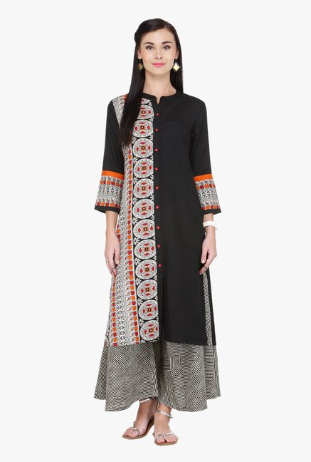 Varanga Black & Grey Printed Rayon Kurta With Palazzo