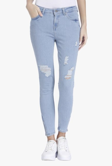 Only Blue Skinny Fit Tattered Jeans