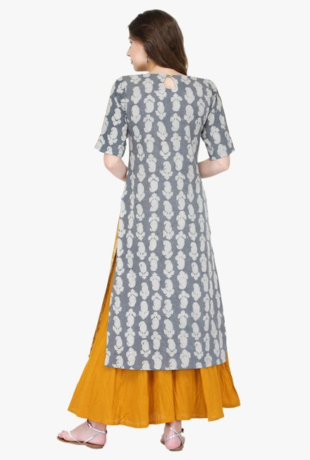Varanga Grey & Orange Printed Rayon Kurta With Palazzo
