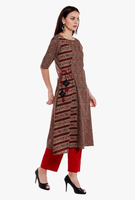 Varanga Brown & Red Printed Cotton Kurta With Pant