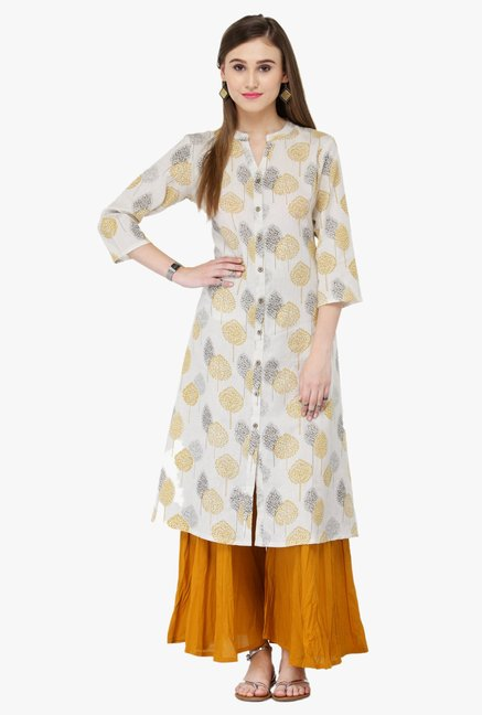 Varanga White & Orange Printed Rayon Kurta With Palazzo