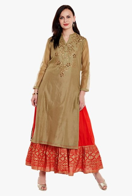 Varanga Olive & Red Embellished Kurta With Skirt