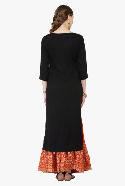 Varanga Black & Orange Embroidered Rayon Kurta With Palazzo