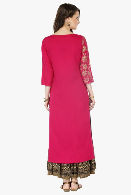 Varanga Pink & Black Printed Cotton Kurta With Palazzo