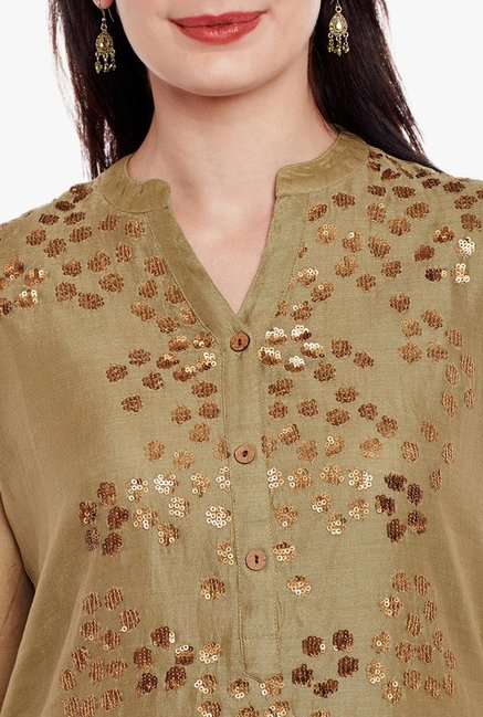 Varanga Olive & Black Embellished Kurta With Palazzo