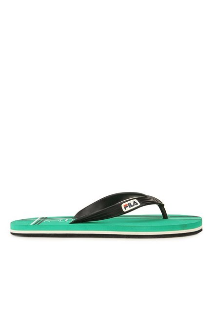24795595fe1d0b Buy Fila Cross Black   Green Flip Flops for Men at Best Price   Tata CLiQ