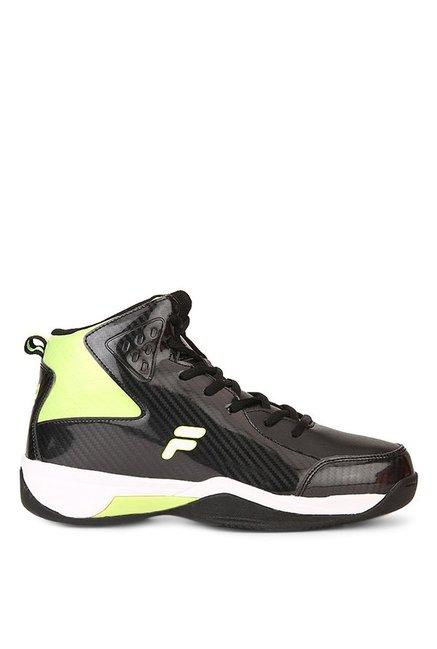438cff0e Buy Fila Ball Hand Black & Lime Green Basketball Shoes for Men at ...