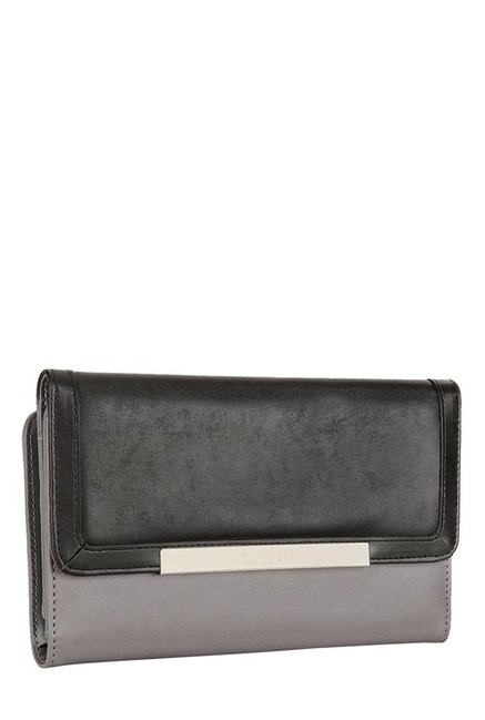 Lavie Cyfe Grey & Black Solid Tri-Fold Wallet