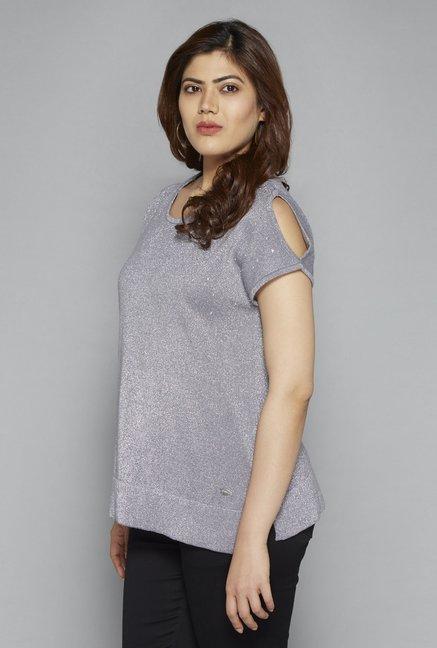 458395b88 Buy Gia by Westside Grey Wallie Knit Top for Women Online   Tata ...