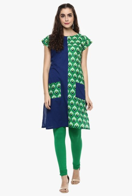 Ziyaa Navy & Green Printed Cotton Kurti