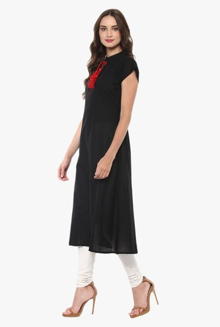 Ziyaa Black Regular Fit Cotton Kurta