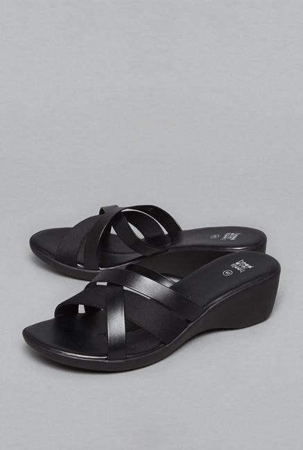 129edb921ff8 Head Over Heels By Westside Black Wedge Sandals For Women Online