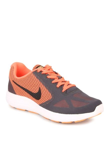256734b9496 Buy Nike Revolution 3 Dark Grey   Orange Running Shoes for ...