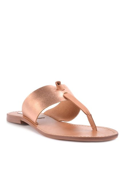 7719df070c21 Buy Steve Madden Olivia Rose Gold T-Strap Sandals for Women at Best Price    Tata CLiQ