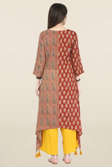 Varanga Maroon & Yellow Printed Rayon Kurta With Palazzo