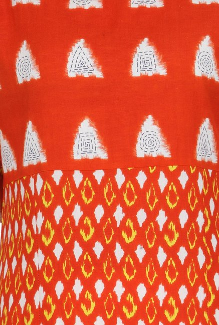 Varanga Orange & White Printed Rayon Kurta With Palazzo