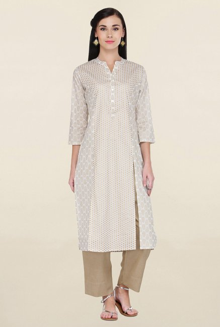 Varanga White & Beige Printed Cotton Kurta With Palazzo