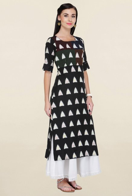 Varanga Black Embroidered Flex Rayon Straight Kurta