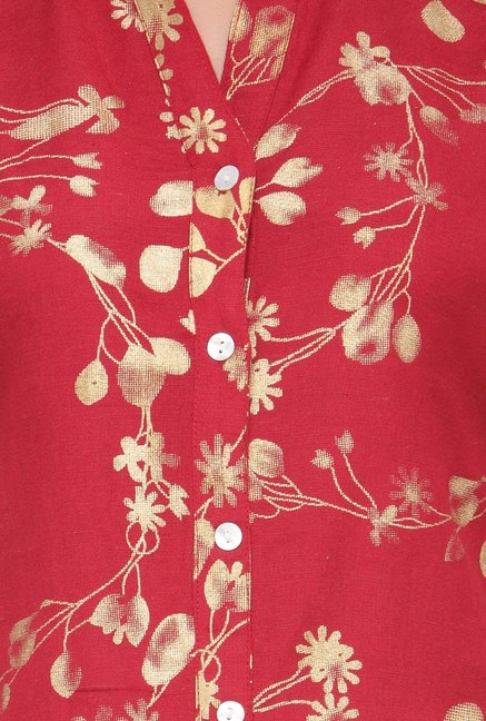 Varanga Red Printed Flex Rayon Straight Kurta