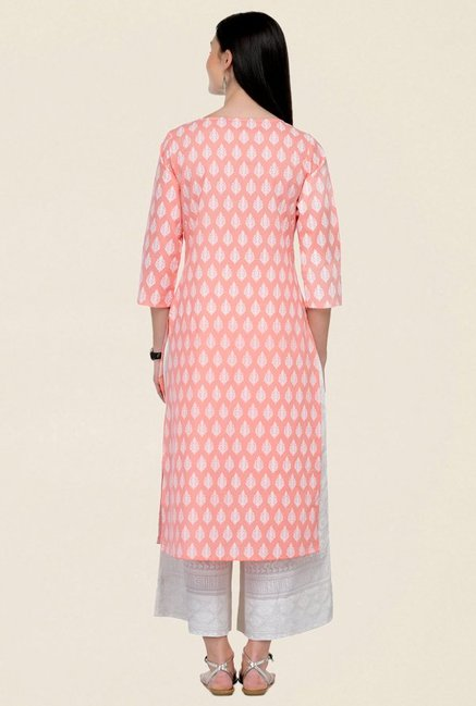 Varanga Peach & White Printed Cotton Kurta With Palazzo